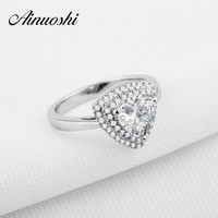 AINOUSHI Luxury Solid 925 Sterling Silver Triangle Shaped Engagement Ring Sona 1 Carat Halo Triangle Wedding Anniversary Rings