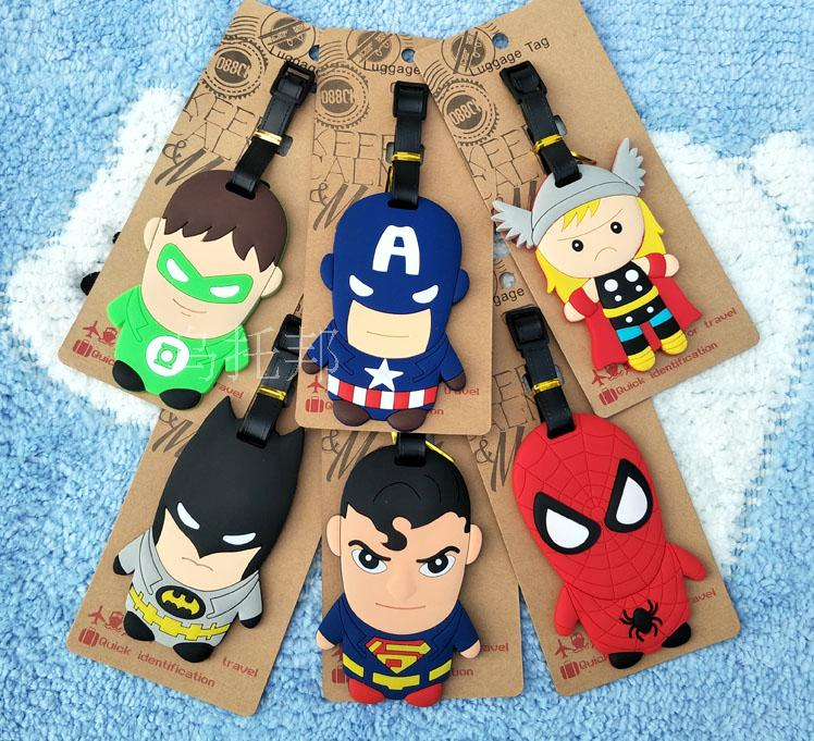 Travel products, hero League captain Superman Batman Spiderman soft gel luggage tag, tag, luggage and package.