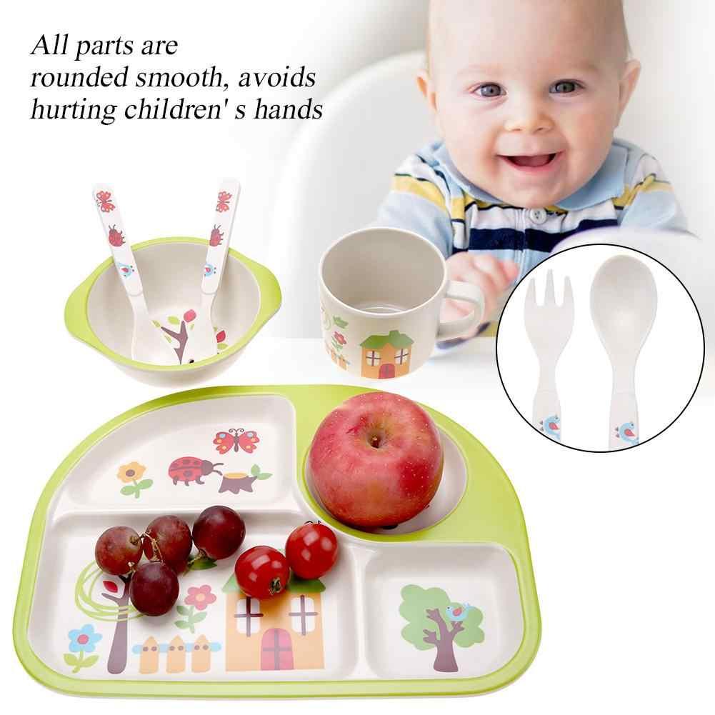 5 pçs/set Conjunto Fibra De Bambu Do Bebê de Alimentação Do Bebê Talheres Pratos Prato Tigela Louça Garfo Colher Copo Conjunto de Alimentação Do Bebê Para crianças