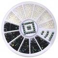 12 Caja de Accesorios Del Arte Del Clavo Pegatinas DIY Decal Consejos Glitter Manicura De Acrílico Blanco y Negro