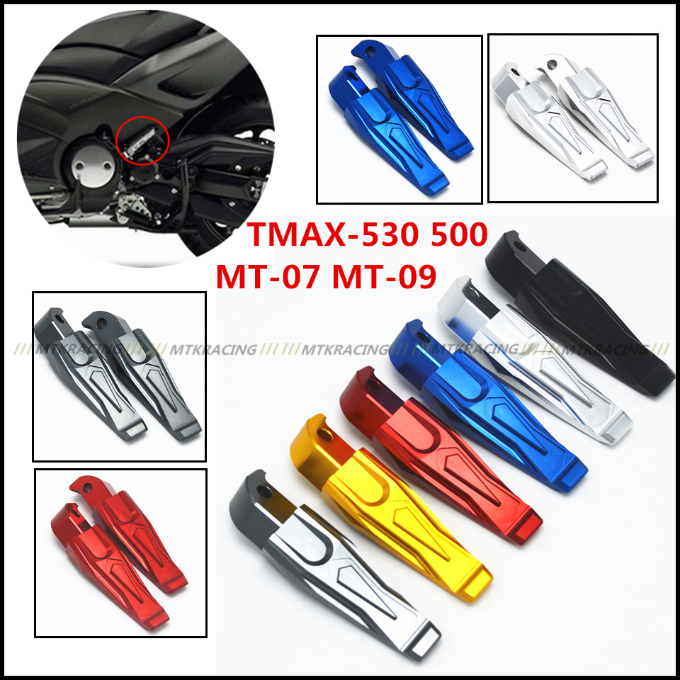 Motorcycle CNC Rear Foot Pegs Rests Passenger Footrests For Yamaha Tmax 530 T-max 530 2013-2015 tmax 500 MT-07 MT-09 MT 07 09