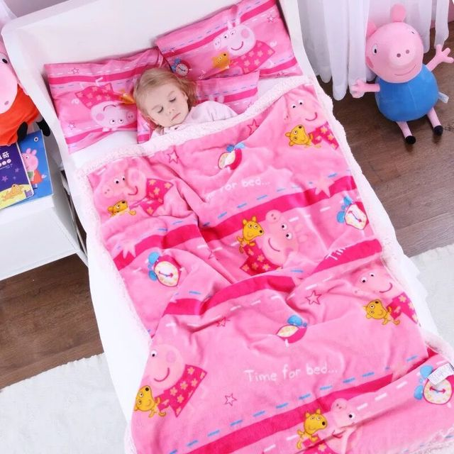 Us 12 41 36 Off Genuine Peppa Pig Time For Bed Lamb Cashmere 150cm Quilt 42cm Pillow Suit Cartoon Warm Plush Quilt For Autumn Winter Kids Toy In