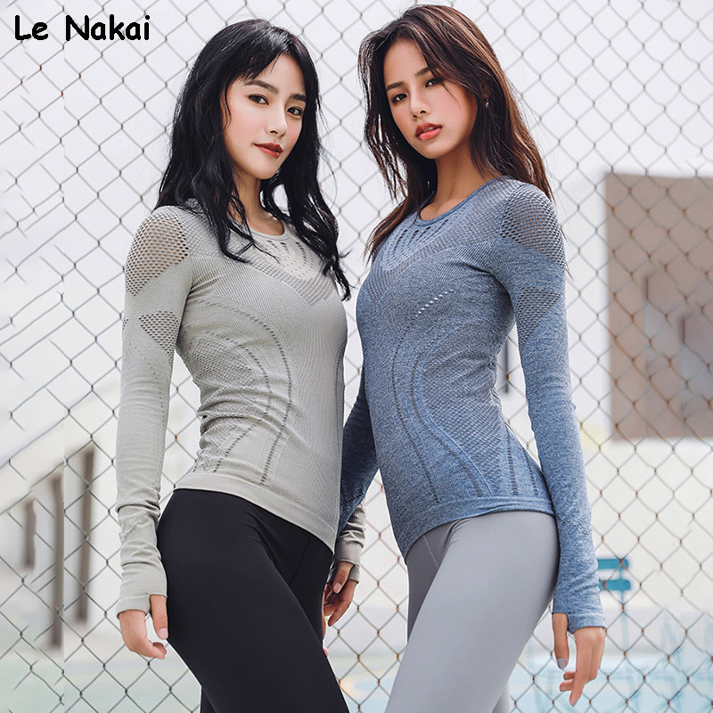 Le Nakai Pink Long Sleeve Mesh Yoga Shirts for Women Seamless Knit Workout Tops Extra Flexibility Gym Fitness Top Sports Jerseys