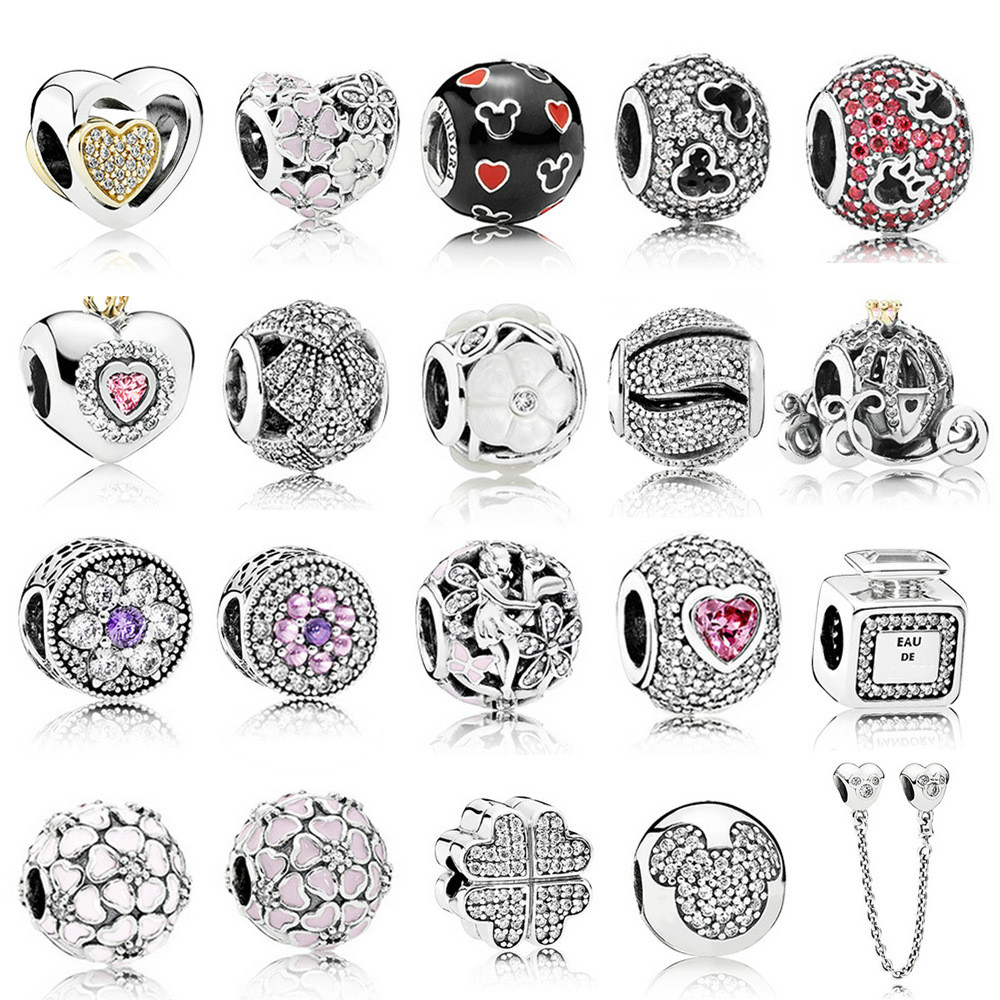 100% Authentic 925 Sterling Silver Dazzling Clear CZ Charm Beads Fit Pandora Charm Bracelet Pendants DIY Original Jewelry Gift