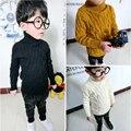 Niñas Bebés Niños Niños Suéter de Otoño Invierno de Dibujos Animados de Algodón Sólido Suéter Suéter de Punto Jersey de Cuello Alto Caliente 3 Colores