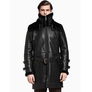 Image 1 - Men Long Thicken 100% Real Sheepskin Fur Coat Genuine Full Pelt Sheep Shearling Male Winter Jacket Black Men Fur Outwear