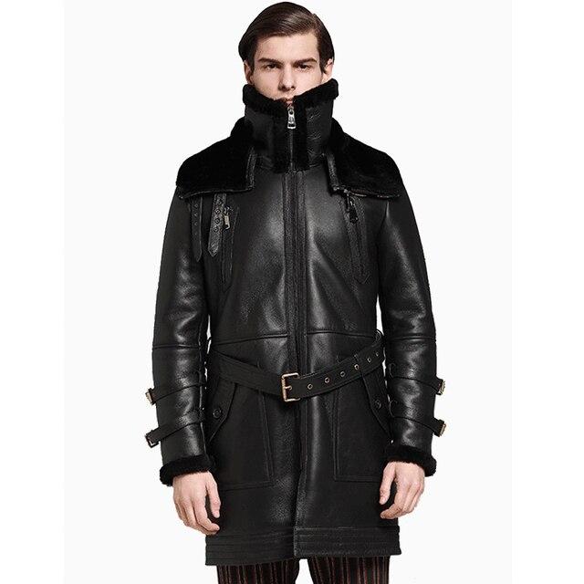 Men Long Thicken 100% Real Sheepskin Fur Coat Genuine Full Pelt Sheep Shearling Male Winter Jacket Black Men Fur Outwear