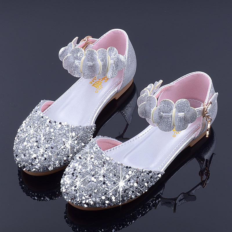 Mudipanda Wedding-Shoes Flowers Silver Girls Baby Flat School Princess Summer Children