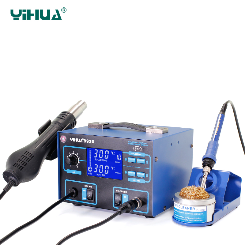 YIHUA 992D SMD 2 in 1 Multifunctional Soldering Iron Station Air Heat Gun Soldering Station