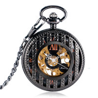 SHUHANG Black Stripe Roman Numbers Mechanical Pocket Watch Steampunk Carving Fob Clock Men Women Gift With Chain
