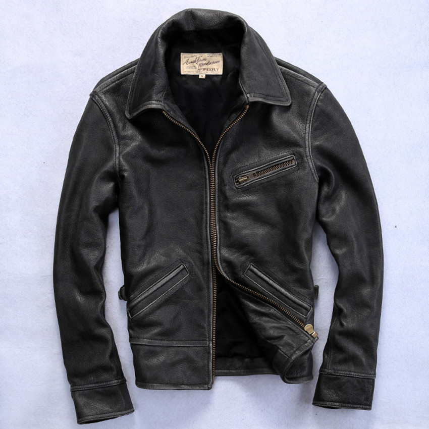 Aliexpress.com : Buy Avirex vintage real leather jacket men black ...