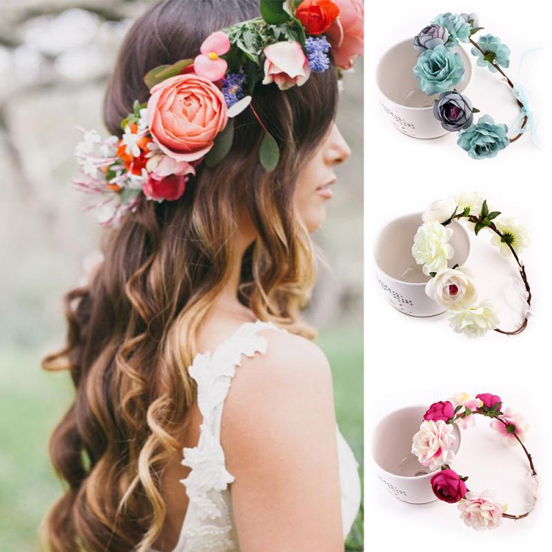 Girls Hair Accessories Peony Women's Bohemian Floral Headbands Flower Party Wedding Hair Wreaths Hair Band Ornaments Beach Wrape
