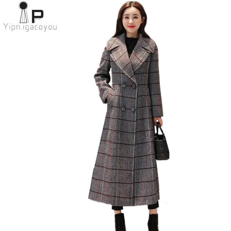 Winter Long Woolen Women's Coats 2018 New Korean Plus Size Double Breasted Female plaid Coat Warm Elegant Women Fashion jackets цена
