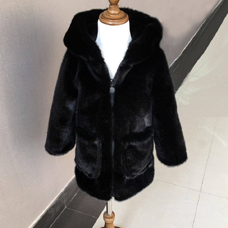 JKP 2018 black New style winter boys and girls imitation fur jacket baby long coat fashion coat hat Outerwear jackets FPC-46 цена