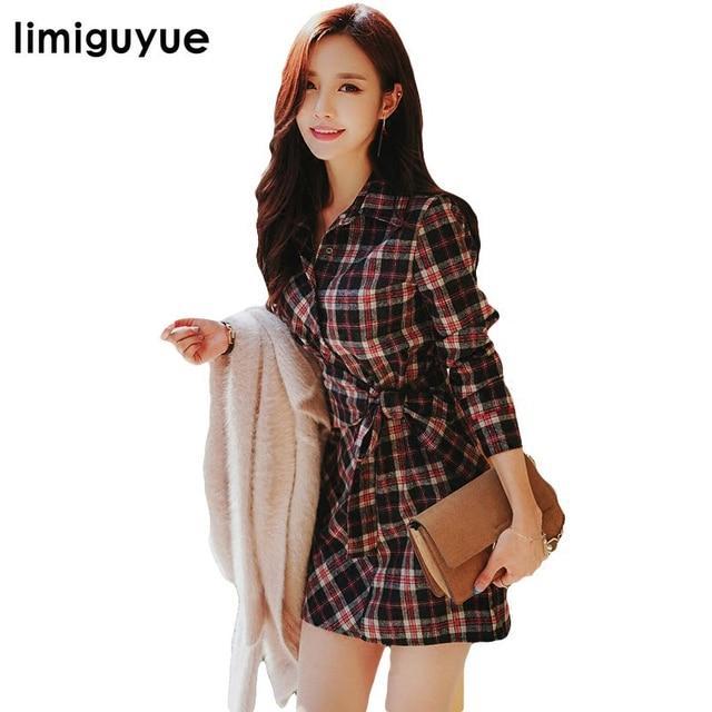 4e814ae4f98f limiguyue red plaid shirt dress women bow tie dresses korean japan style long  sleeve autumn vintage autumn work dress E088