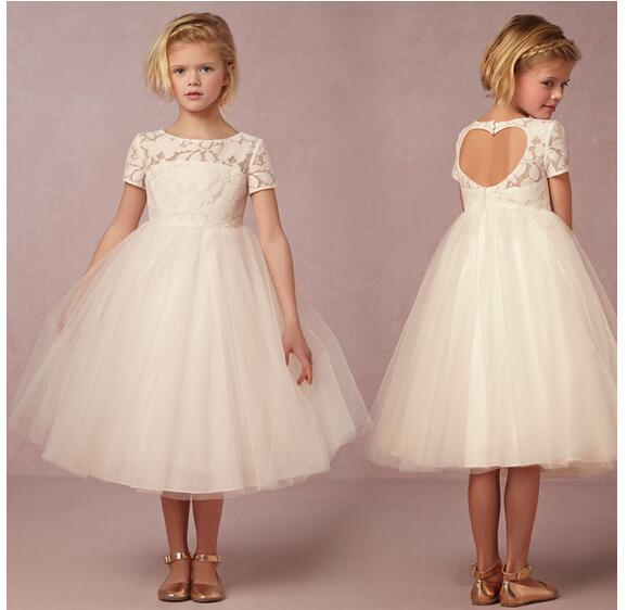 Girl's Pageant Formal Dress 2017 Flower Girls Princess Dresses Lace Hollow Out Gowns Kids Birthday Dress Children Wedding Dress