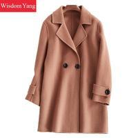 a81e18f450 Elegant Brown Pink Camel Wool Womens Coats Winter Warm 2018 Female Xlong  Overcoat Woolen Woman Office