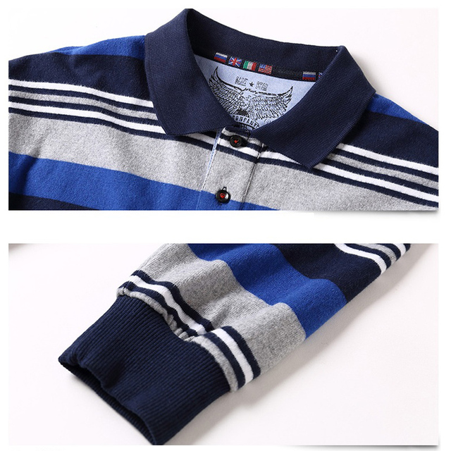Men's Long Sleeved Polo Shirt Plus Size Striped Stand Collar Cotton POLO Shirts Casual Mens Lapel Polo Embroidered Tees 5XL