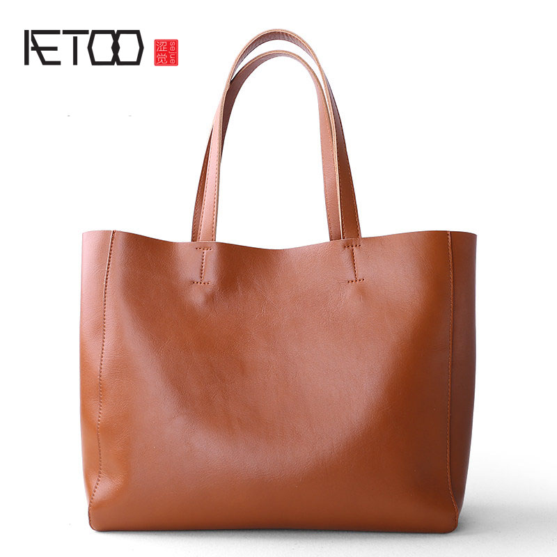 AETOO New shoulder bag large package Europe and the United States simple leather shopping bag Tote commuter bag handbags europe and the united states simple geometric pattern hand bag head layer of leather in the long wallet multi card large capacit