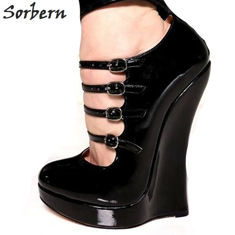 Sorbern Women Sandals Sexy Black Buckle Strap Sandals Female Fashion Wedges Shoes Spring/Summer/Autumn Woman Pumps Plus Size Sho