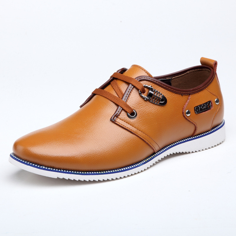 ФОТО 2016 Genuine Leather Flats Shoes Men Breathable Lace Up Spring Autumn Casual Men Shoes Business Office Leisure for Men 38-44
