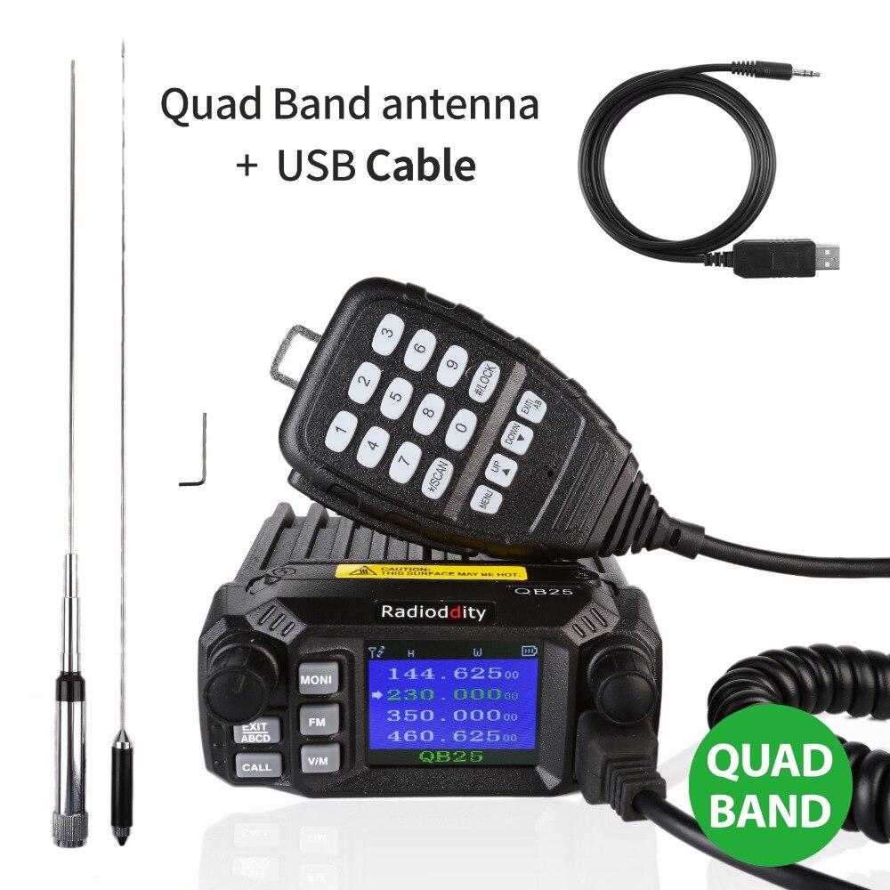 Radioddity QB25 Pro Quad Bande Quad-veille Mini Mobile De Voiture Camion Radio VHF UHF 25 W Véhicule Émetteur-Récepteur antenne à gain élevé