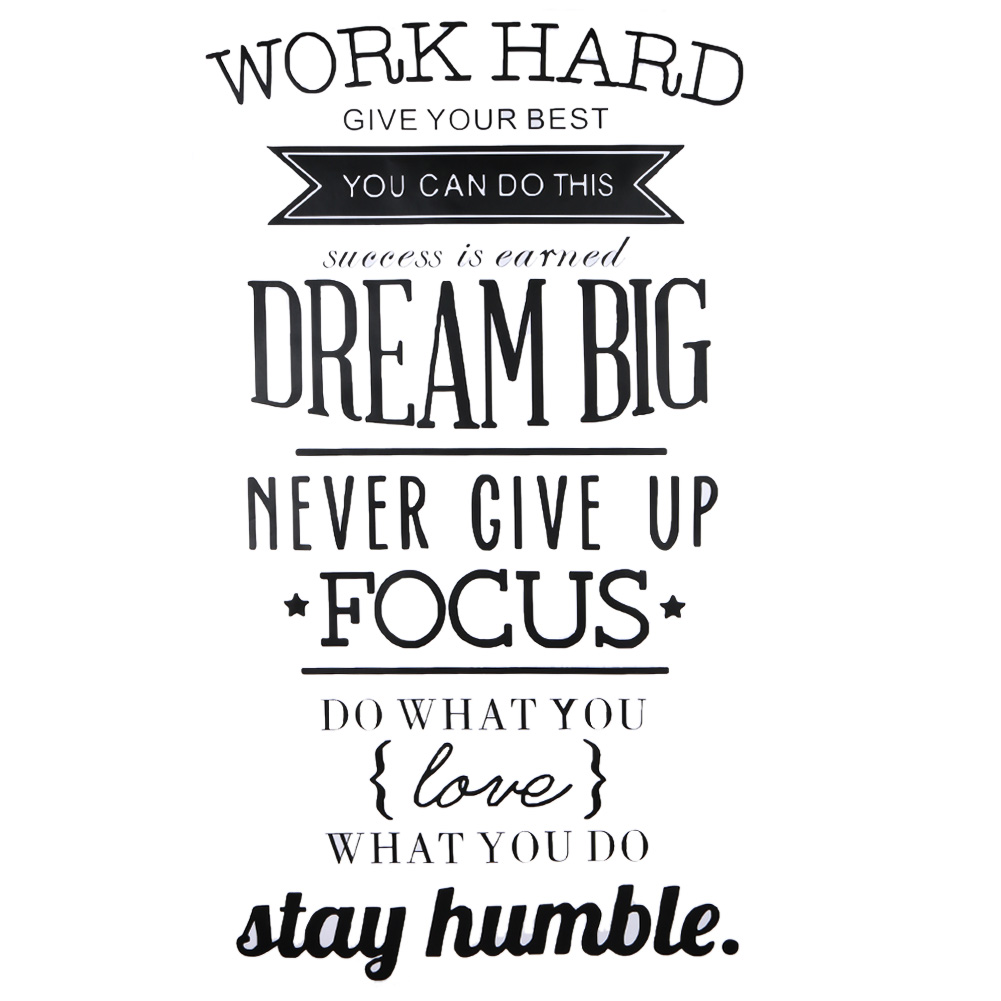 Работать мотивация на стены кабинет Декор Never Give Up Dream Big вдохновляющие цитаты Wall Наклейки Книги по искусству декоративные ...