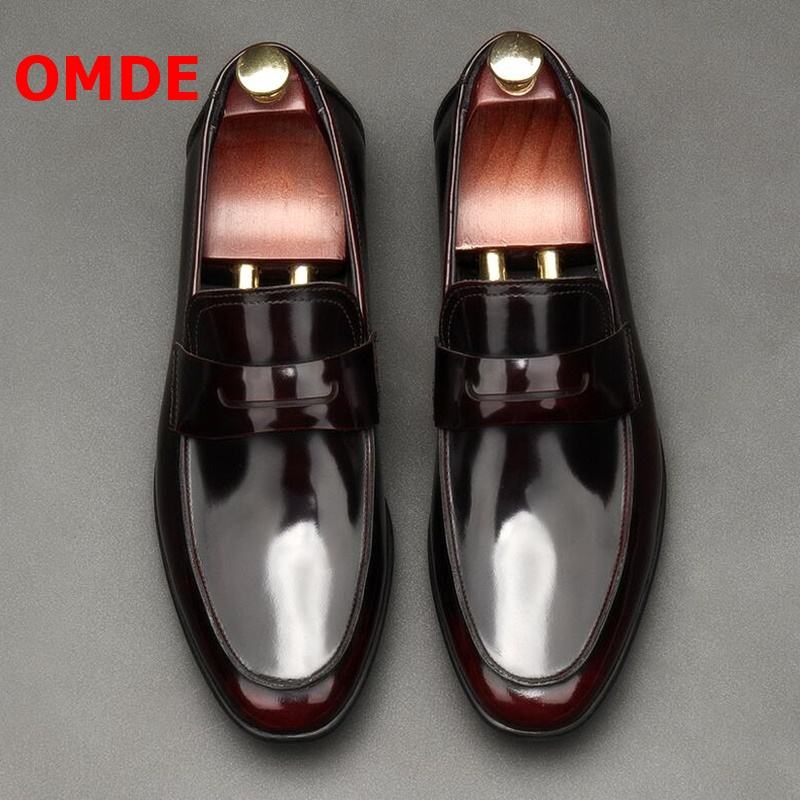 OMDE New Fashion Patent Leather Men Loafers British Style Round Toe Slip On Mens Shoes Casual Flats Luxury Men's Prom Shoes