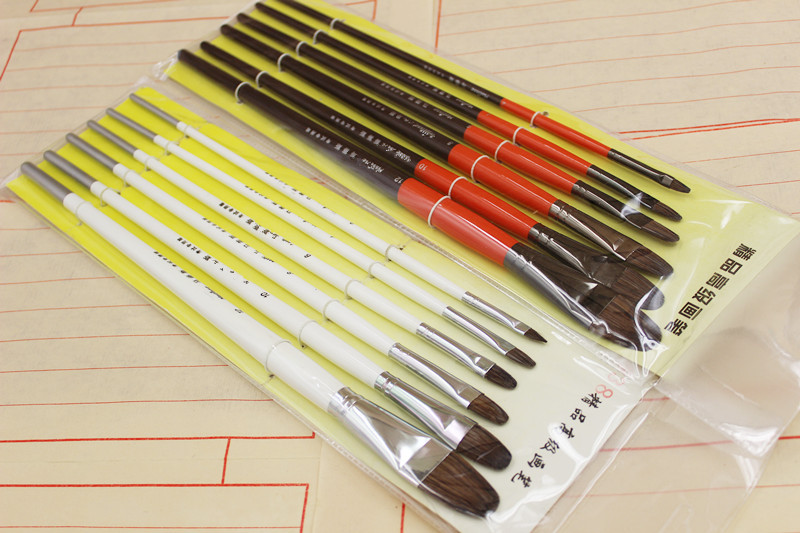 6pcs/Set,red White Two Colour Handmade Special Oil Painting Brush Brush Pure Large Student Practice Training Acrylic Brush Art