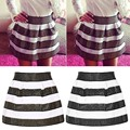 2016 New Fashion Stripe Skirt female Women's Girls Stretch Punk High Waist Pleated Sexy Short Skirt
