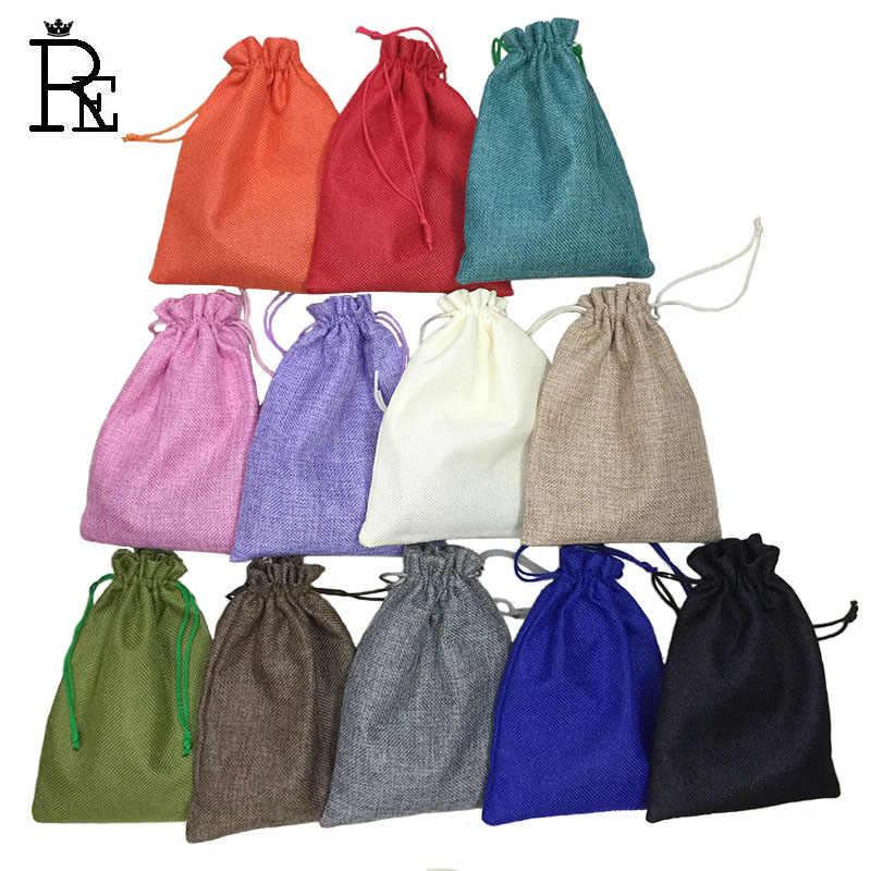 10*14cm 50 sztuk/partia Handmade juta sznurek juta wesele prezent na boże narodzenie woreczki na biżuterię torby do pakowania