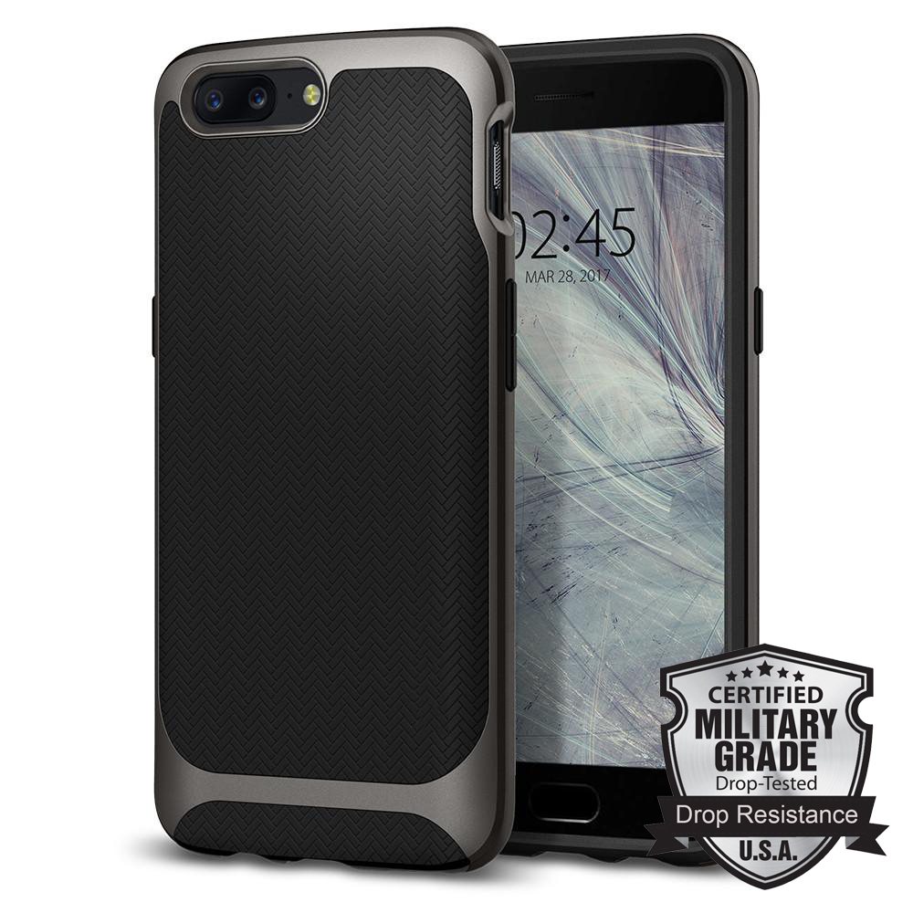 Original Hybrid OnePlus 5 Case Gunmetal K04CS21515 Flexible Inner Protection and Reinforced Hard Frame Hybrid Case