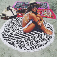 1 Pcs Round Beach Towel Bath Yoga Towel With Tassel Serviette Print Summer Women Sandy swimming Sunbath Baby Blanket HG0468