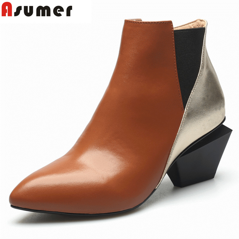 ASUMER 2018 New classic genuine leather boots high heels spring autumn ankle boots punk thick heels female platform boots bisi goro high heel boots women black beige pink platform female boots leather spring autumn shores boots heels ankle boots 2017