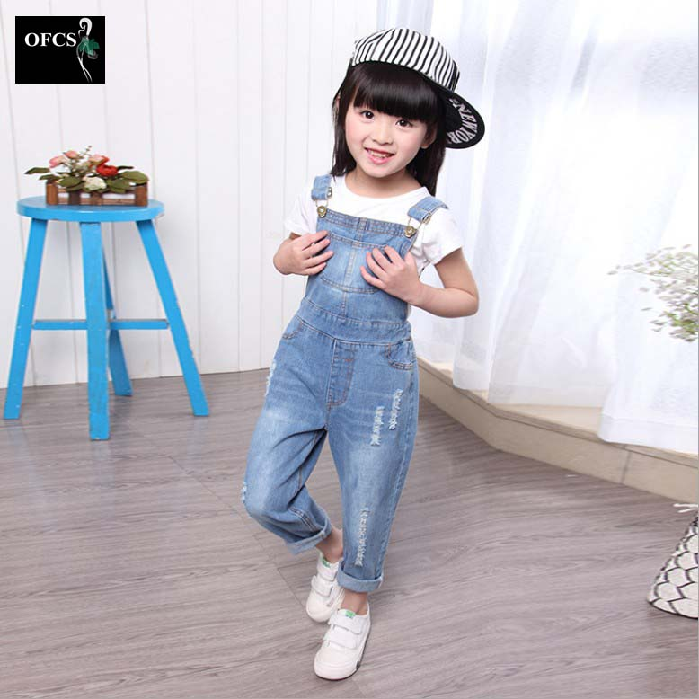 2016 New Arrival Girls Denim Overalls High Quality Kids Overall Jeans Spring Autumn Children Trousers Jumpsuit