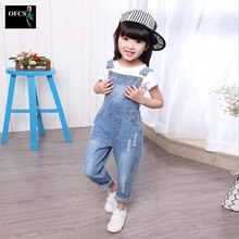2016 New Arrival Girls Denim Overalls High Quality Kids Overall Jeans Spring&Autumn Children Trousers Jumpsuit  Bib Pants 3-15Y