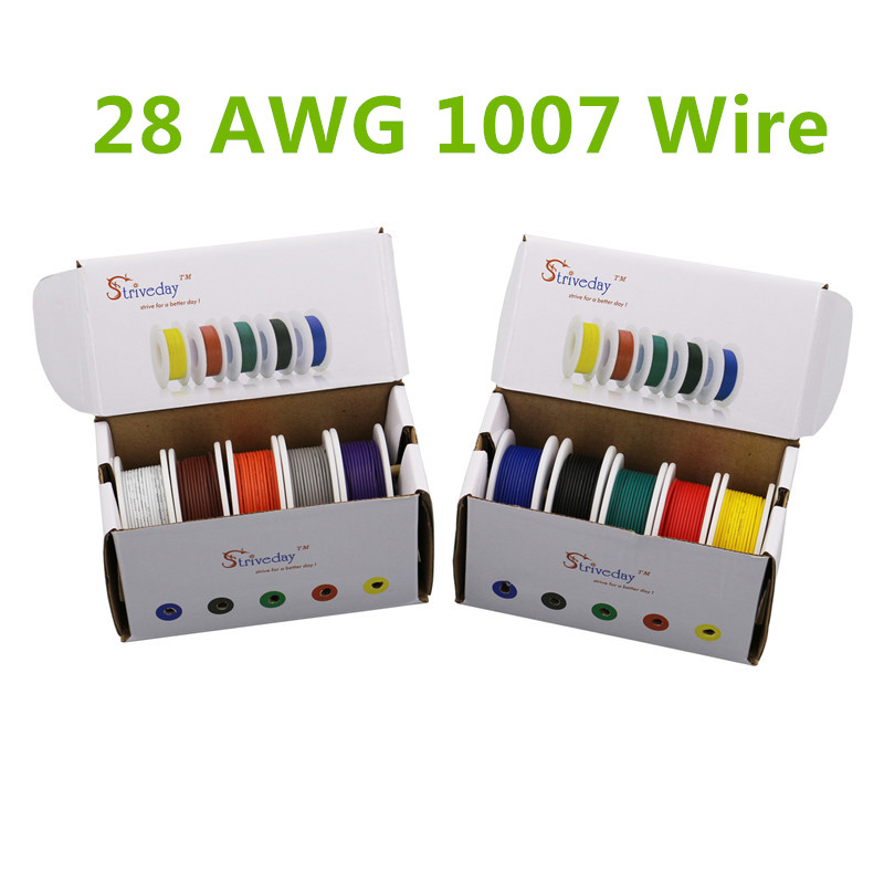 50m UL 1007 28AWG 5 color Mix box 1 box 2 package Electrical Wire Cable Line Airline Copper PCB Wire 50m ul 1007 26awg 5 color mix box 1 box 2 package electrical wire cable line airline copper pcb wire