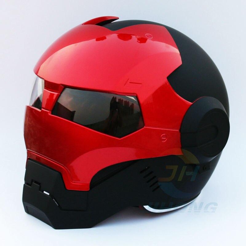 2016 Nova Matte Black & Red Masei IRONMAN Ferro das mulheres Dos Homens homem capacete da motocicleta meio capacete aberto da cara do capacete ABS casque motocros