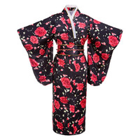 Black red Flower Japanese Women Fashion Tradition Yukata Kimono With Obi Vintage Cosplay Costume Evening Dress One size