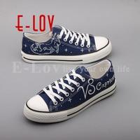 E-LOV Handgeschilderde Platte Canvas Schoenen Ontwerp Steenbok Constellation Vrouwen Oxford Schoenen Lichtgevende sapatos femininos