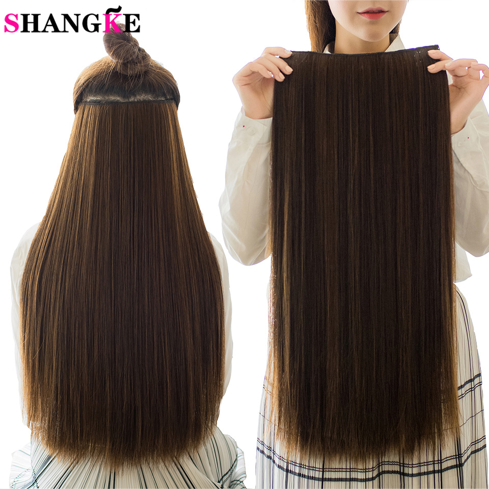 SHANGKE Hair 24'' Long Straight Women Clip in Hair Extensions Black Brown High Tempreture Synthetic Hair Piece 2