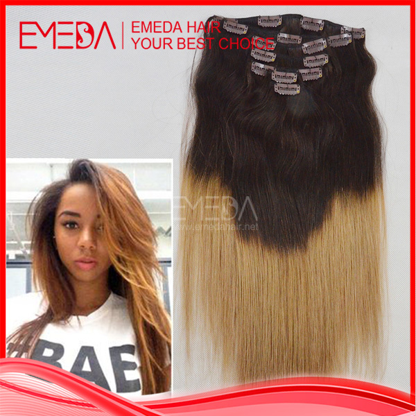 Thick Ombre Clip In Hair Extensions 120g 100 Brazilian Remy Real