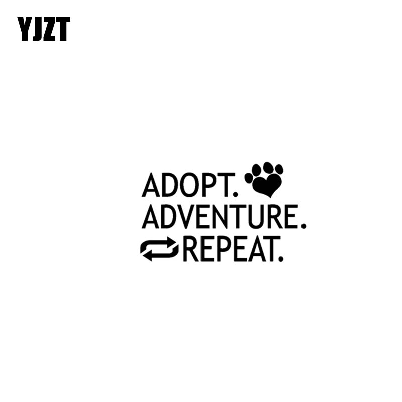 YJZT 17.8CM*10.7CM ADOPT ADVENTURE REPEAT Vinyl Motorcycle Originality Car Sticker Decals Black/Silver C13-000433
