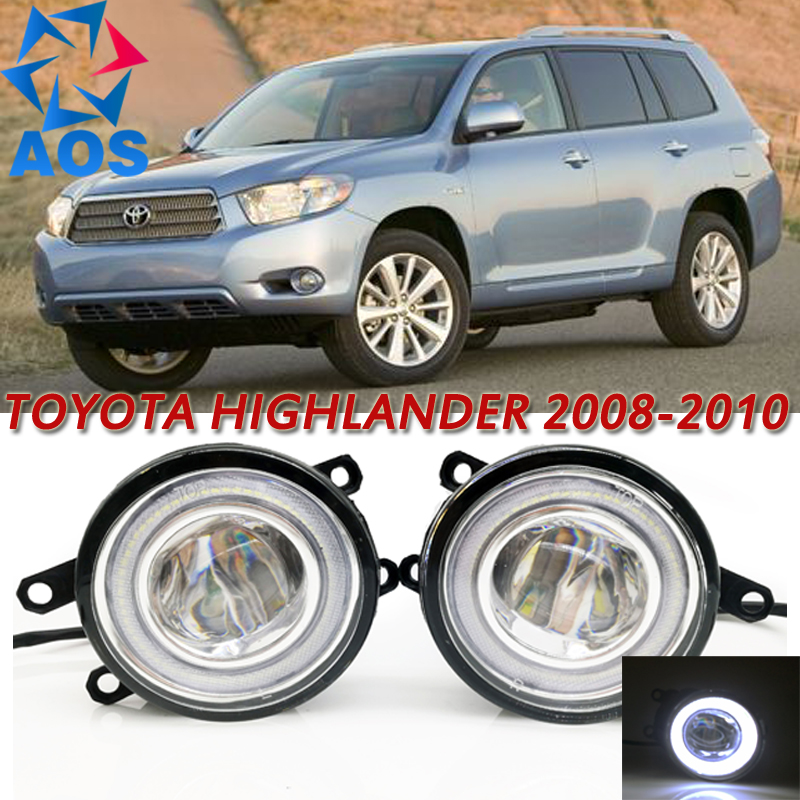 For Toyota Highlander 2008-2010 Car Styling LED Angel eyes DRL LED Fog light Car Daytime Running Fog Light set