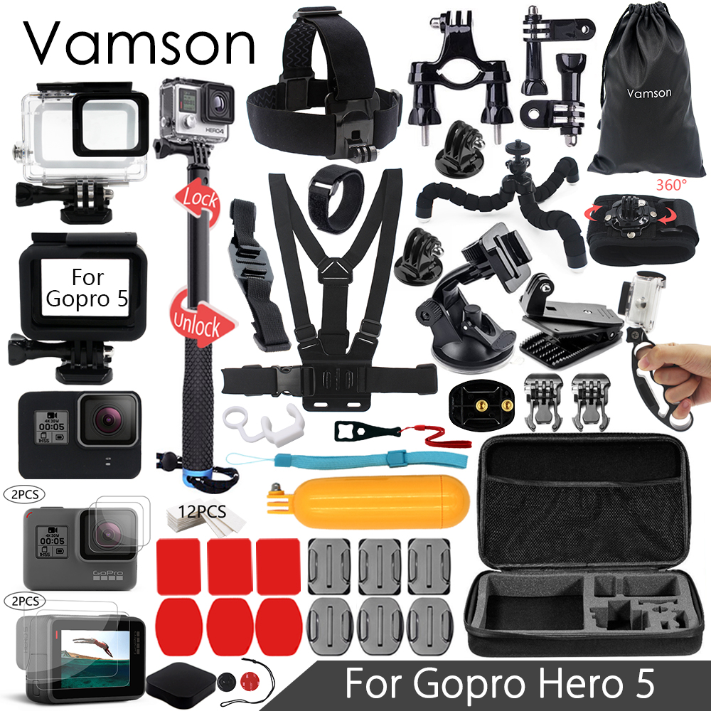 Vamson for Gopro 6 5 Accessories Set Waterproof Housing Protection case Monopod for Gopro hero 6 5 Sport Camera Vamson VS10 набор аксессуаров для gopro hero от vamson vs19 с поплавком ремнями и штативами