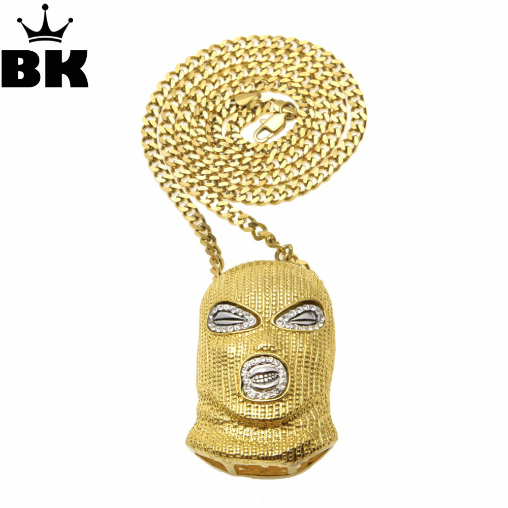 Hip Hop CSGO Pendant Necklace Mens Punk Style Alloy Gold Silver Color Mask Head Charm Pendant High Quality Cuban Chain