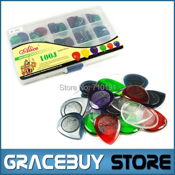 100pcs Guitar Bass Mediator Picks Durable Clear Pure Color Plectrum 1.0 2.0 3.0 Mixed Standard Size- Alice AP-100JM palheta