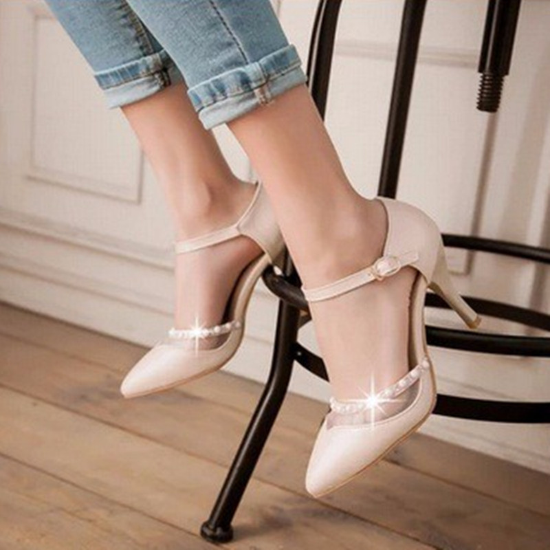 Women's Thin heel Elegant Mature big size 42 43 pointed toe Buckle Strap Cover heels Rhinestone high heeled sandals womens pumps