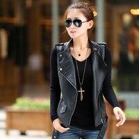 pu של האופנה החדשה אשת עור נשי אפוד מעיל ללא שרוולים קצר אופנוע החזייה slim sml xl xxl משלוח חינם a034