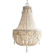 French Country white wood Bead Chandelier dining room bedroom ...